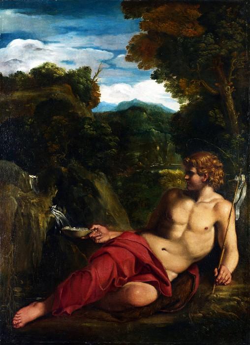 自然の中で横たわる洗礼者ヨハネ