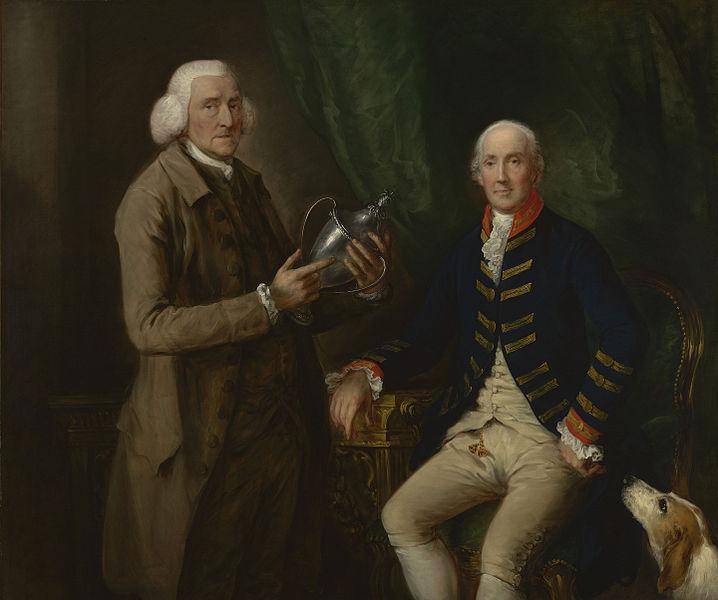 トーマス・クラッターバックに銀のカップを贈呈する第4代エセックス伯ウィリアム・アン・ホリス の肖像