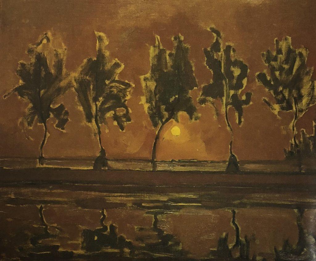 昇る月とヘイン河畔の5本の木