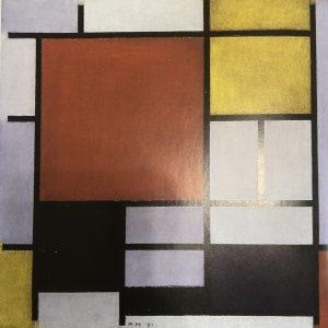 大きな赤の色面と黄、黒、灰色、青のコンポジション