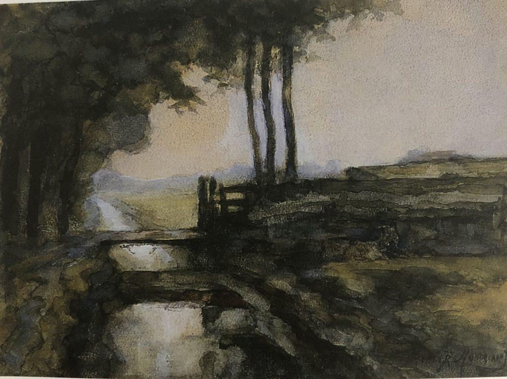 用水路と橋と山羊