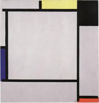 黄、黒、青、赤、灰色の絵画2