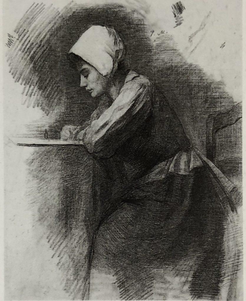 書き物をする頭巾を被った少女