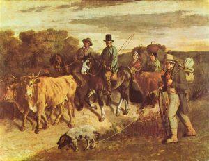 市場から戻ったフラジェイの農民