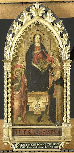 聖母と四人の聖人と王位の子、聖人バプテスマのヨハネ、アントニー・アボット、ハンガリーのエリザベス、女性の聖人