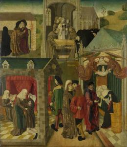 マルブルグで病気気味の聖エリザベス、聖エリザベスの死、ドルトレヒトの大聖堂のために作られた祭壇画の内側右の絵