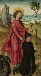洗礼者聖ヨハネと寄与者と二人の息子、三部作の内側左