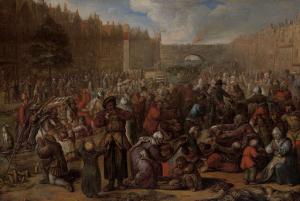 1574年10月3日のライデンの救済での、ニシンと白パンの配布