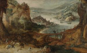イノシシ狩りをしている川の風景