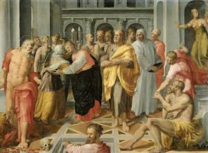 訪問(マリアとエリザベスの会合、聖ヨセフとジェロームも同席)