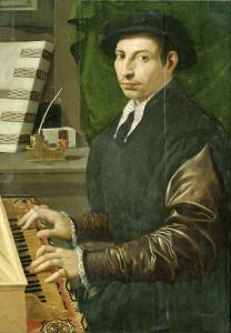 ヴァージナルを演奏している男の肖像。