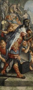 マギの崇拝の祭壇画の翼、裏には寺院の絵