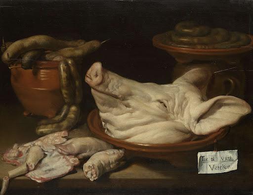 豚の頭、豚の関節、ソーセージのある静物画