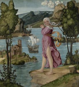 水辺に立つ女性