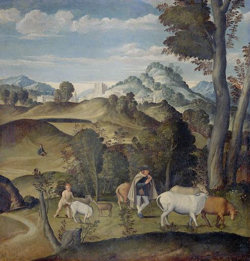 アポロンの牛の群れから牛を盗む幼いマーキュリー(ヘルメス)