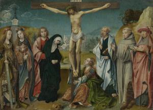 磔刑のキリスト、聖母マリア、聖ヨセフ、マグダラのマリアと聖セシリア、聖バルバラ(左)、聖ペテロ、聖フランシス、そして聖ジェローム(右)