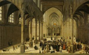 集会に説教しているキリストと教会の内部
