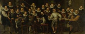 1599年、アムステルダムにて、ギリス・ヤンスズ・ヴァルケニアとピーター・ヤコブス・バス中尉と仲間たち