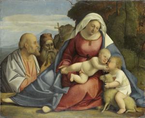 聖母子と洗礼者ヨハネ、聖人ペトロ、聖人アンソニー・ザ・ハーミット