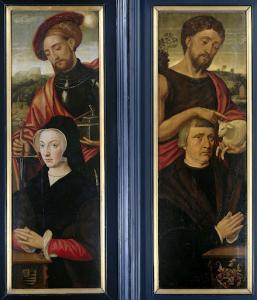 聖エイドリアンと洗礼者ヨハネと寄与者の肖像が描かれた三部作の二翼