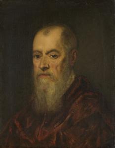 赤いマントの男性の肖像画