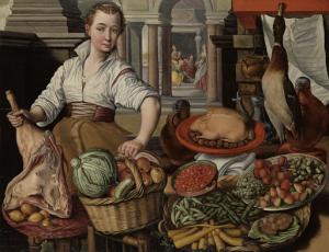 背景に聖母マリアがいる、マーサの家にキリストがいる台所の場面