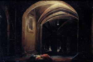 明かりの灯るアーチ門の部屋で眠る男たち