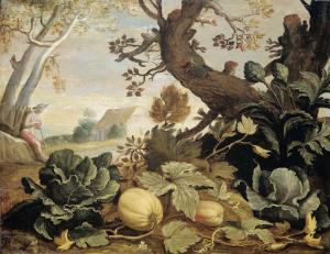 前景に果物と野菜のある景色