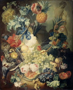 花と果物と動物の静物画