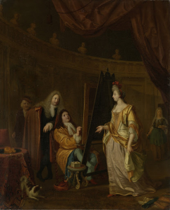 女性の肖像画を描いている、彼のアトリエの画家