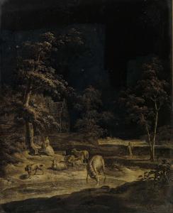 羊と女性の羊飼い