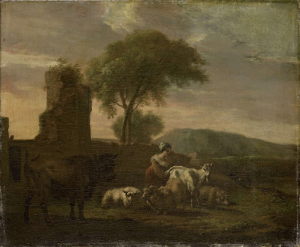 羊飼いと羊やヤギの群れがいる、イタリアの風景