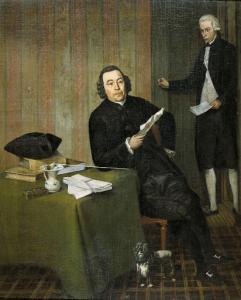 部下ヤン・ボッシュといる、ハーレムの公証人、ヴェルネルス・ケーネ(1725/26-88)