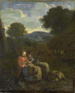 読書の女性羊飼い