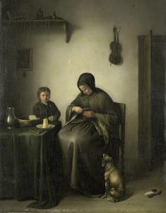パンを切る女
