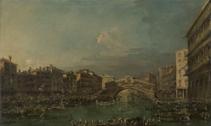 ヴェネツィア、リオルト橋の近くの大運河で行われたレガッタ