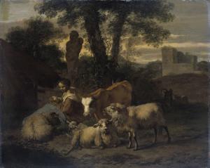 女性羊飼いと群れのイタリア風景