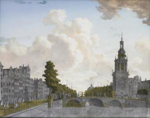 アステルダムのヤン・ルーデンフォートと呼ばれる塔とシンゲル運河の眺め
