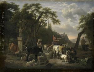 噴水のところに羊飼いと動物がいるイタリアの風景