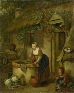 井戸から水を汲んでいる女