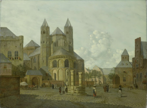 ロマネスク教会がある、想像上の街の風景