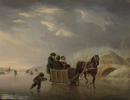 冬の場面(氷の上の馬のソリ)