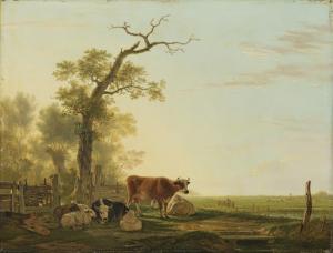 動物がいる草原の風景