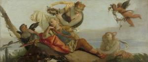 アルミダに花の冠をのせてもらった、寝ているリナルド