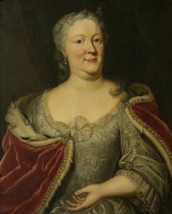 オラニエナッサウの王子、フリースランドの地主ジョン・ウィレム・フリソーの未亡人、マーイケ・ミューと呼ばれた、マリア・ルイーザ・ヴァン・ヘッセンカッセルの肖像
