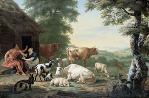 羊飼いと牛がいるアルカディアの風景