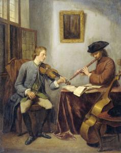 ヴァイオリニストとフルート奏者の演奏