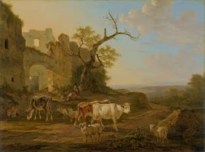 廃墟の近くに牛がいる風景