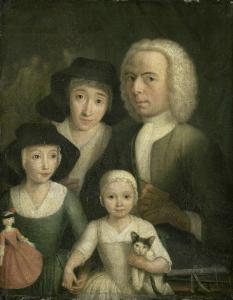妻サネーケ・ヴァン・ボメルと二人の子どもといっしょの自画像