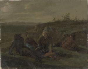 牧草地で休んでいる農民たち